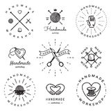 Handmade workshop logo vintage vector set. Hipster and retro style. Royalty Free Stock Images