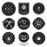 Handmade workshop logo vintage vector set. Hipster and retro style. Stock Photo