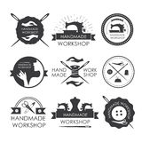 Handmade workshop logo vintage vector set. Set of vintage tailor labels, emblems and designed elements Royalty Free Stock Photo