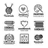 Handmade workshop thin line logo set. Handmade black thin line icons on white background. Handmade workshop logo set for painting cross stitching sewing and Stock Photo