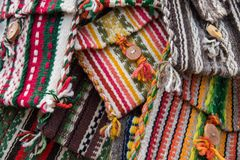 Handmade woven bags of wool Royalty Free Stock Image