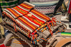 Handmade woven bags of wool Royalty Free Stock Images