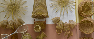 Handmade woven baskets Stock Photography