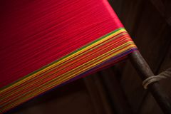 Handmade woven cotton cloth. The unique identities of  Karen tribe. Thailand Stock Images