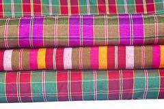 Handmade woven fabrics in thai.  Stock Photos