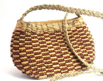 Handmade woven hand bag Stock Photos