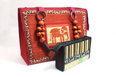 Handmade woven hand bag and purse Royalty Free Stock Image