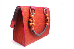 Handmade woven red hand bag Stock Image