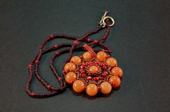 Free Handmade Woven Seed Bead Necklace Royalty Free Stock Photography - 52020067