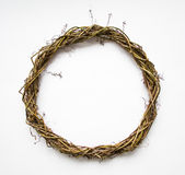Handmade wreath of vines, blank for decoration. Flat lay, top view, view from above Stock Photography