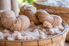 Handmade yarn from the cotton flower Royalty Free Stock Image