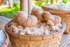 Handmade yarn from the cotton flower Royalty Free Stock Photos