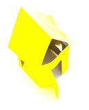 Handmade yellow house of cardboard Royalty Free Stock Photography