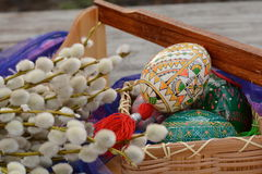 Handmade, yellow and white, easter eggs close up Royalty Free Stock Photography