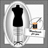 Handmade for You, Black & White. Black tailor's dress form with needle, thread and sewing label Handmade for you in black and white check frame on a polka dot Stock Illustration