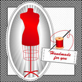 Handmade for You, Crimson Mannequin. Crimson tailor's dress form with needle, thread and sewing label Handmade for you in black and white check frame on a polka Royalty Free Illustration
