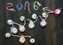 Handmade, zegarowy, szczęśliwy nowy rok 2016, czas Zdjęcia Royalty Free