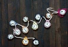 Handmade, zegarowy, szczęśliwy nowy rok 2016, czas Obrazy Royalty Free
