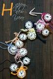 Handmade, zegarowy, szczęśliwy nowy rok 2016, czas Obrazy Stock