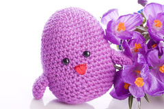 Chick with purple flowers Royalty Free Stock Photos