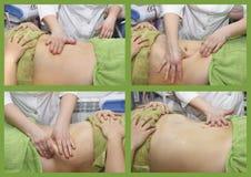 Handmassage des Unterleibs Frauenfuß im Wasser Nicht chirurgischer sculpting Körper AntiCellulite und anti-fette Therapie im Schö lizenzfreie stockfotos