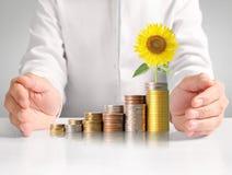 Handmenschliche Hand, die Münze zum Geld setzt Stockfotografie