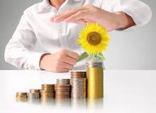 Handmenschliche Hand, die Münze zum Geld setzt Lizenzfreies Stockfoto