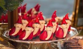 Handmolded marsipandiagram - Santa Claus royaltyfri bild