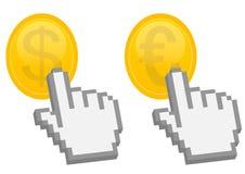 Handnadelanzeige auf Dollar und Euromünze Stockfotografie