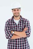 Handome male handyman standing arms crossed Stock Photo
