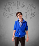 Handome man with question sign doodles Royalty Free Stock Photography