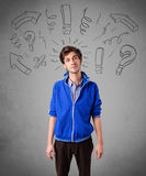Handome man with question sign doodles Stock Images