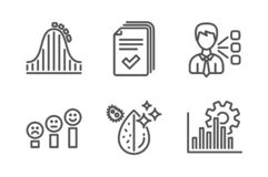 Handout, Roller coaster and Customer satisfaction icons set. Third party, Dirty water and Seo graph signs. Vector. Handout, Roller coaster and Customer stock photo