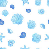 Handpaint watercolor shells seamless Stock Images