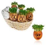 Handpainted пасхальные яйца в смешное вспугнутое и удивленное мультяшном Стоковое Изображение