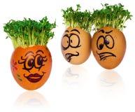 Handpainted пасхальные яйца в смешное вспугнутое и удивленное мультяшном Стоковая Фотография