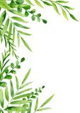 Handpainted akwareli rama z liśćmi i śniadanio-lunch royalty ilustracja
