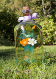Handpainted bottle. A handpainted bottle of brandy on grass Stock Photo