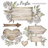 Handpainted Collection Watercolor Wood Planks Clipart. Stock Photos