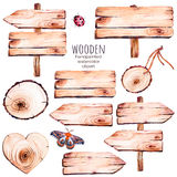 This handpainted collection of 9 watercolor wood slices clipart. Stock Photography