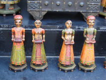 Handpainted dolls of Rajput princes. In Udaipur marketplace, Rajasthan, India, Asia Royalty Free Stock Photography
