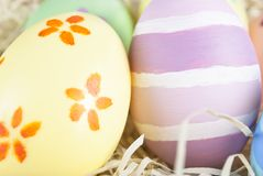 Handpainted Easter Eggs Close Up Royalty Free Stock Photos