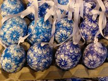 Handpainted Easter Eggs. Handpainted and etched Easter eggs, a traditional Eastern European ornament Stock Photography