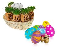 Handpainted Easter eggs in funny scared and surprised cartoonish faces in the basket with cress like hair look at the outstanding. Handpainted Easter eggs in royalty free stock images