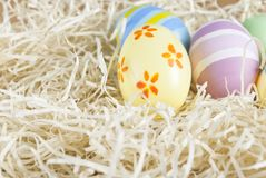 Handpainted Easter Eggs Nested Royalty Free Stock Photography
