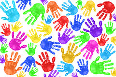 Handpainted Handprints Of Kids Royalty Free Stock Images