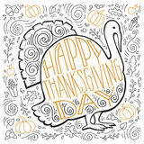 Handpainted illustration of a Turkey and autumn gifts Stock Photography