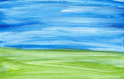 Handpainted landscape. Hand painted background on watercolour paper Stock Images