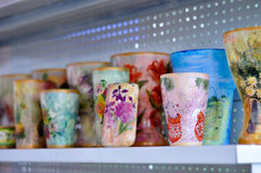 Handpainted mugs Stock Photo
