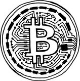 Handpainted stiliserat bitcoinmyntsymbol stock illustrationer